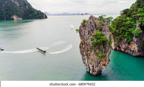 Tropical James Bond Island in Phang Nga Bay,Southern Thailand.Aerial view of famous rocky isle.View of Khao Tapu islet.Famous landmark and famous travel destination.
