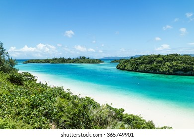 Tropical Japanese beach with clear turquoise lagoon water, Ishigaki Island National Park of the Yaeyama Islands, Okinawa