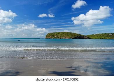 Tropical La Sagesse beach on coast of Grenada Island