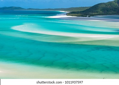 Tropical lagoon with white sand. Aerial view. Queensland, Australia