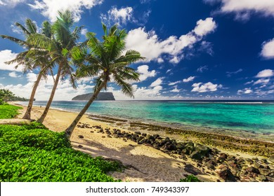 Tropical Lalomanu beach on Samoa Island with tree palm trees, Upolu, South Pacific