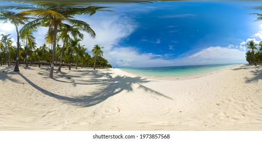 Tropical landscape: beautiful beach and tropical sea. Panglao island, Bohol, Philippines. Summer and travel vacation concept. 360 panorama VR.