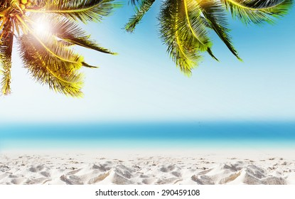 Tropical landscape with coconut palm tree, white sand beach and blurry ocean. Design banner background.