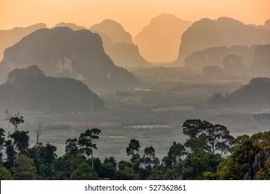 Tropical landscape at dusk, Krabi, Thailand