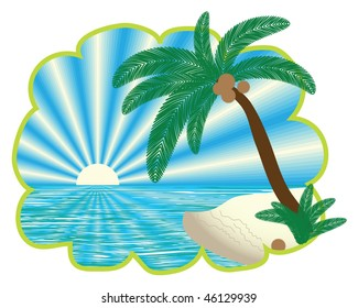 tropical landscape in figured border, vector version is also available