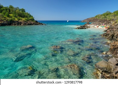 Tropical landscape in ilet Pigeon Guadeloupe, France