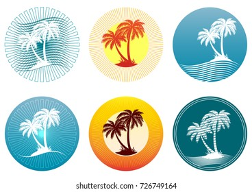 Tropical Landscape with Palms Trees Silhouettes on Background with Circle. Icons, Logo or Labels.