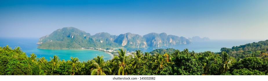 Tropical landscape. Phi-phi island, panorama view. Thailand.