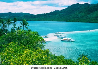 Tropical landscape with sea bay and mountain islands, Palawan, Philippines