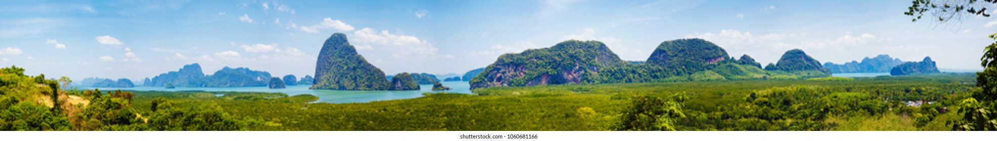 Tropical landscape a view of islands in Thailand