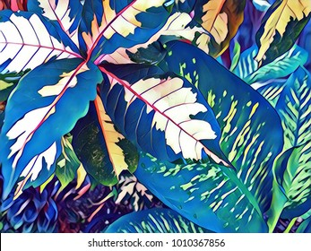 Tropical leaf bright digital illustration. Vibrant blue green tropical garden. Floral wedding background. Vintage leaf texture. Exotic plant card. Exotic leaf texture. Tropical nature banner template
