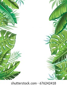 Tropical leaves. Background with tropical plants