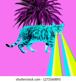 Tropical leopard Cat with lasers from eyes. Minimal collage fashion concept