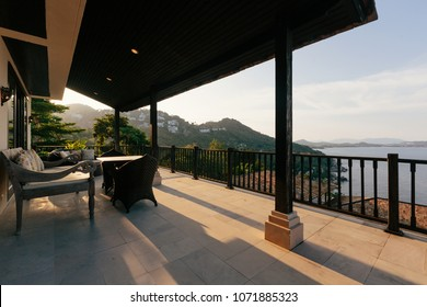 Tropical luxury villa interior outdoor,  sea view veranda