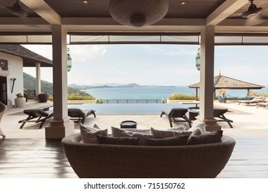 Tropical luxury villa interior,  sea view veranda