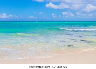 Tropical mexican beach 88 Punta Esmeralda in Playa del Carmen Mexico.