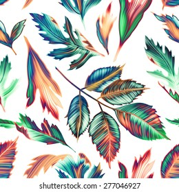Tropical monstera and palm leaves. seamless stylish fashion floral pattern, in Hawaiian style