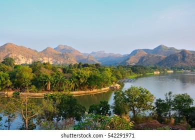 Tropical of mountain river forest natural landscape with sunny,Thailand.