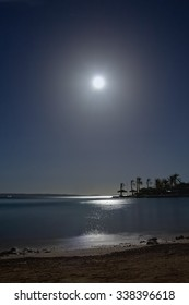 tropical night with a full moon over the sea