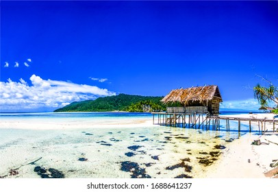 Tropical ocean beach bungalow landscape. Sea sand beach bungalow