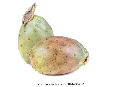Tropical Opuntia Prickly Pear fruit on white background