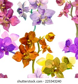 Tropical orchid flowers. Repeating floral pattern. Water color