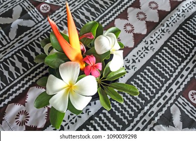 Tropical pacific islands Flower bouquet on a restaurant table in a resort in Fiji. No people. Copy space