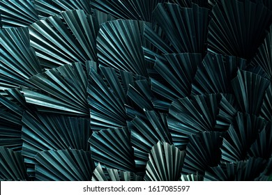 Tropical palm leaves diagonal angle arranging pattern background with multiple exposure photograph technique