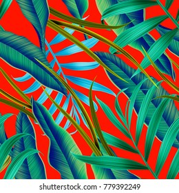 Tropical palm leaves. Seamless stylish fashion floral pattern, in Hawaiian style. Jungle leaf background.