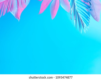Tropical and palm leaves in vibrant bold gradient holographic neon  colors. Concept art. Minimal surrealism summer background.