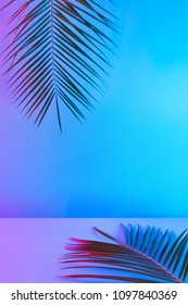 Tropical and palm leaves in vibrant bold gradient holographic neon  colors. Concept art. Minimal surrealism background.