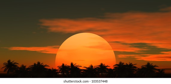 Tropical palm trees against a background of the sunset sky with the setting sun in the middle