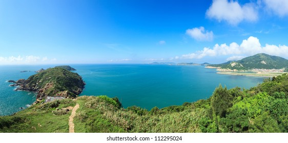 Tropical panorama landscape and  seascape view from a hillside at Beigan island,Matsu,Taiwan