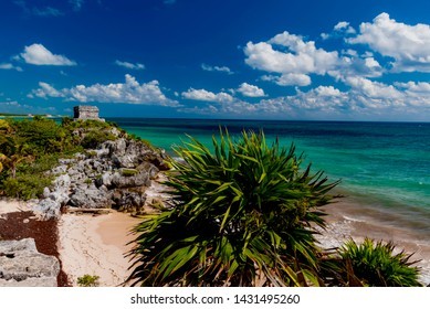 tropical panorama of the Mayan riviera in Mexico in the tourist area of Tulum