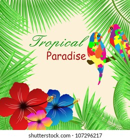 Tropical paradise background with plants, hibiscus flowers and parrots