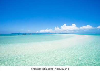 Tropical paradise beach and clear water of a coral reef lagoon, Okinawa, Japan