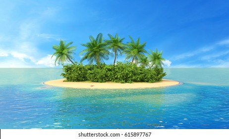 Tropical Paradise Beach with Palm Tree. 3d illustration