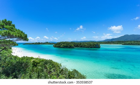 Tropical paradise lagoon, clear turquoise water and coral rock islands, Kabira Bay, Ishigaki Island National Park of the Yaeyama Islands, Okinawa, Japan