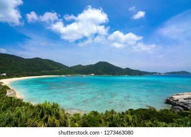 Tropical paradise landscape at Aharen Beach on Tokashiki Island in Okinawa, Japan