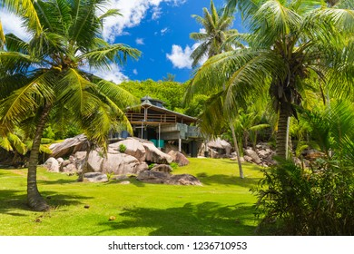 Tropical paradise on Grande Soeur close to La Digue Island, Seychelles