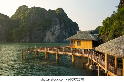 Tropical paradise resort in Halong bay, Vietnam