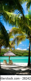 Tropical Paradise. Vertical panorama of sun beds on tropical white sand beach.