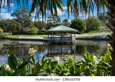 Tropical park with summerhouse near the pond and lush green trees and flowers. Wollongong Botanic Garden