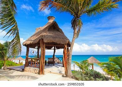 tropical pavillion on the beach of Carribean sea, Mexico