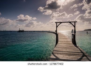 Tropical pier in Martinique island