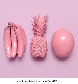 Tropical pink fruit mix. Surreal minimal art