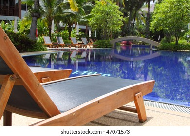 Tropical pool in luxury hotel