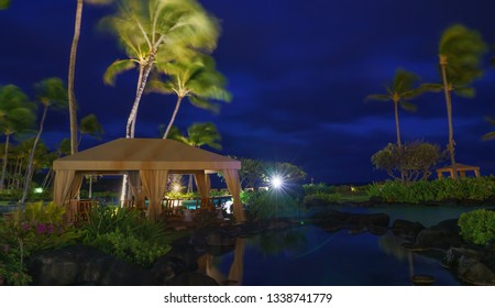 Tropical resort in the evening