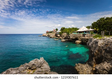 Tropical resort located on a small island in the Caribbean