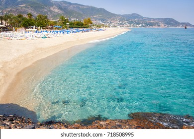 Tropical resort sea beach on summer vacation. Beach with white sand, Alanya Turkey